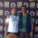 Andre Meyer e Luciano Iritsu juntos em workshop para body piercers em São Paulo